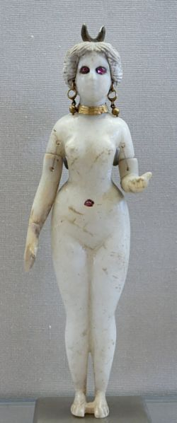 Statuette of a naked woman, maybe the Great Goddess of Babylon (or Ishtar). Alabaster, gold, terracotta and rubies, 2nd century CE/BC. From the necropolis of Hillah, near Babylon.