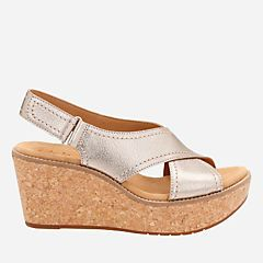 8a44e0eea27 Aisley Tulip Gold Metallic Leather - Womens Wedge Sandals - Clarks® Shoes  Official Site