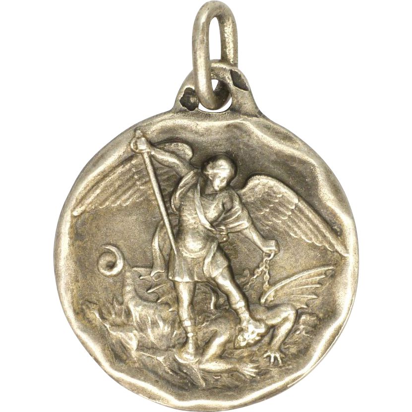 French Antique St Michael Amp Dragon Silver Medal Charm