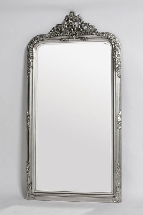 French style Silver Floor Standing Mirror Slight Antique Finish ...