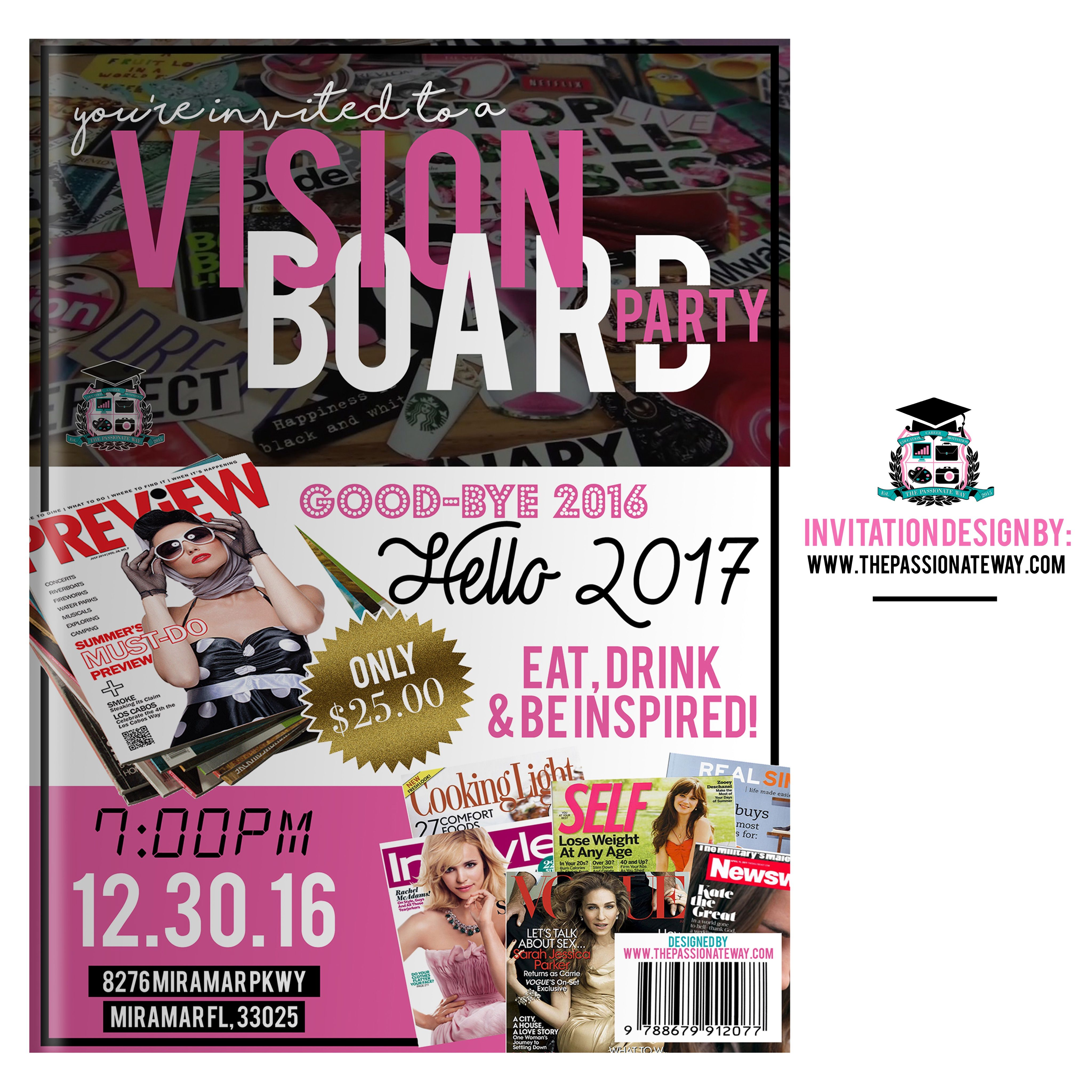 Simple Flyer For A Dream Vision Board Program Vision Board Party Dream Vision Board Vision Board Program
