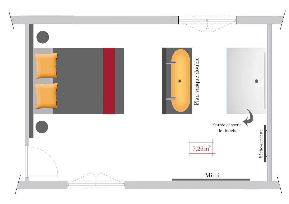 Salle de bains ouverte sur chambre éléments en enfilade   ..Plans ...