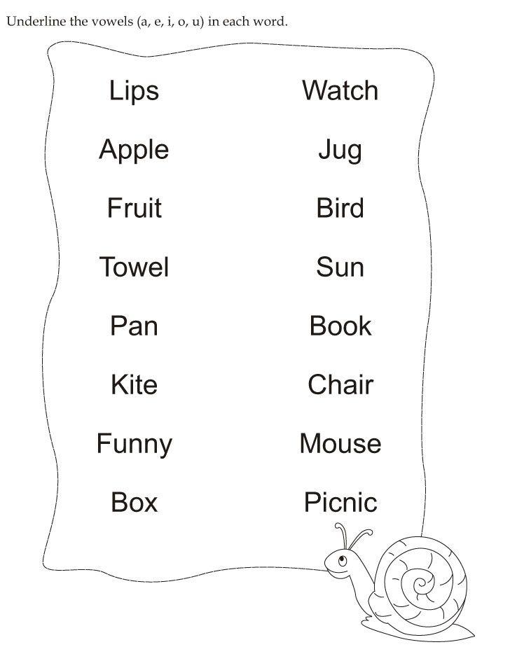 download english activity worksheet underline the vowels a e i o u in each word from. Black Bedroom Furniture Sets. Home Design Ideas