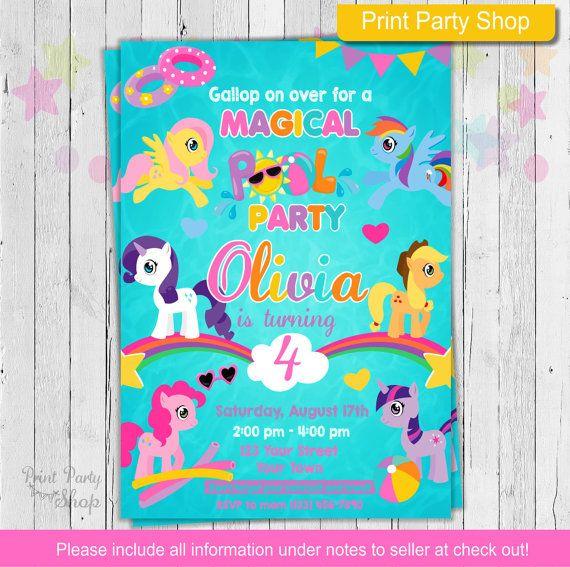My Little Pony Pool Party Invitation  Birthday by printpartyshop - birthday invitation swimming party