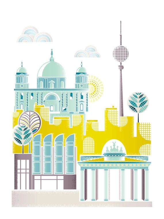 Berlin Art Print, Skyline, Paper wall Poster, Cityscape Illustration ...