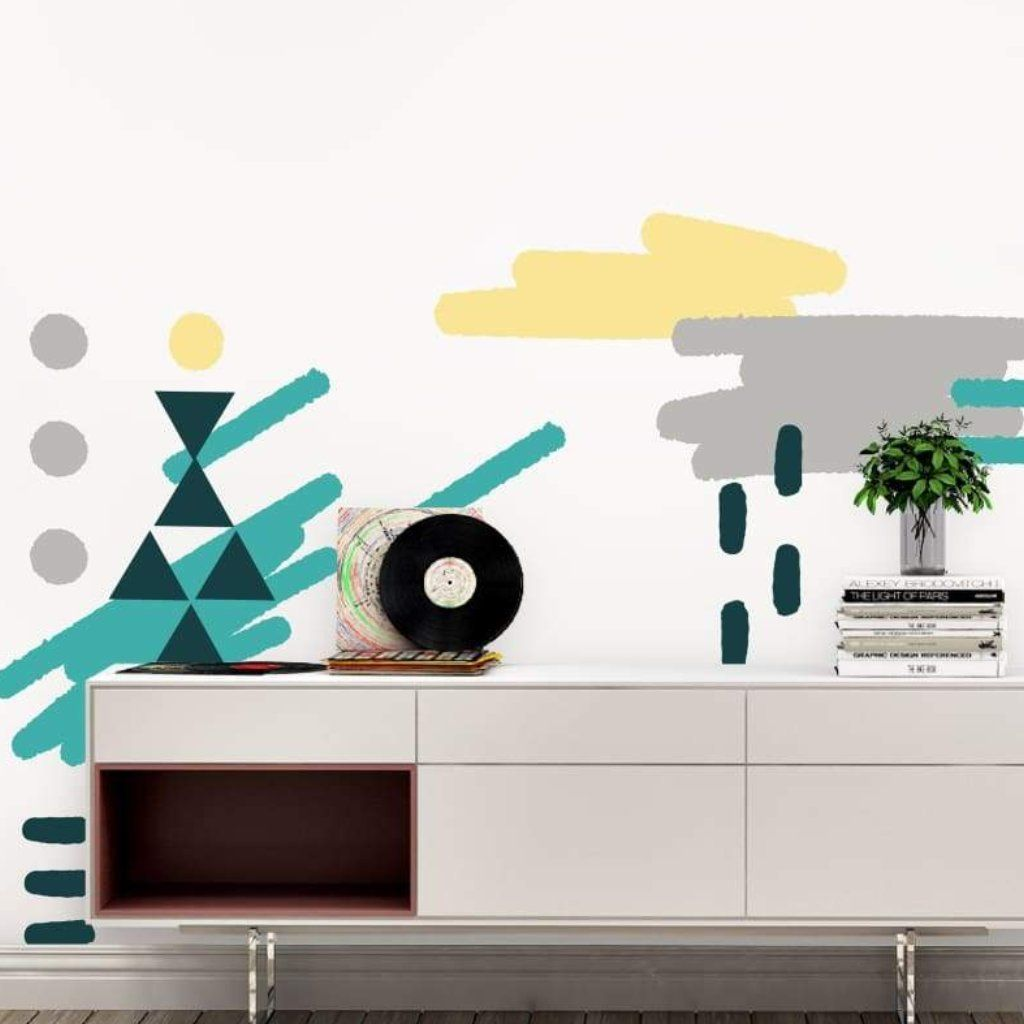 Abstract Shapes Wall Art Stickers Turquoise Yellow And Gray Abstract Wall Art Removable Wall Decals Wall Art