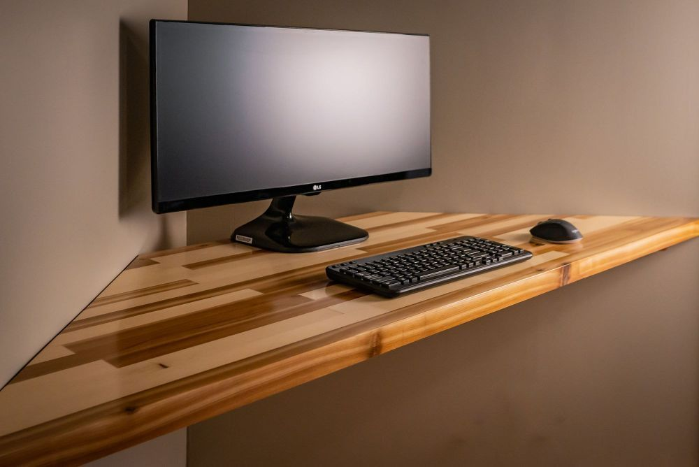 Floating Pine And Cedar Corner Desk Floating Corner Desk Pine Desk Corner Desk