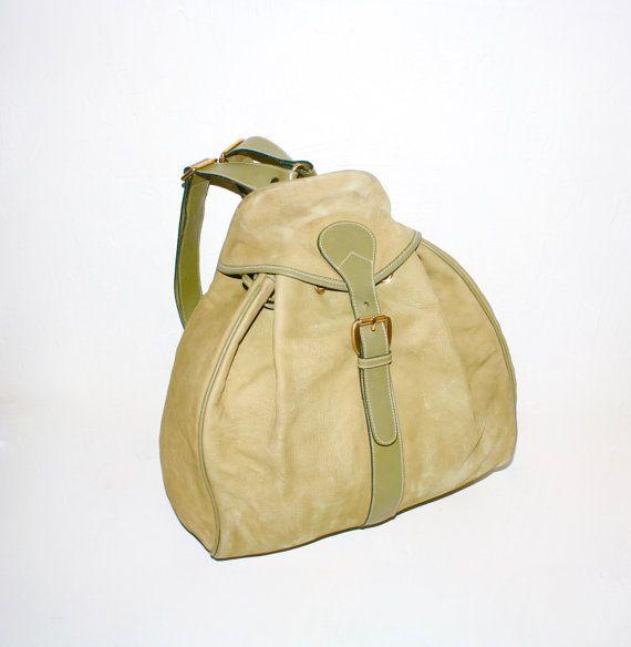 883b951ed75 VINTAGE GUCCI Backpack Green Nubuck Suede Leather Large Rucksack ...