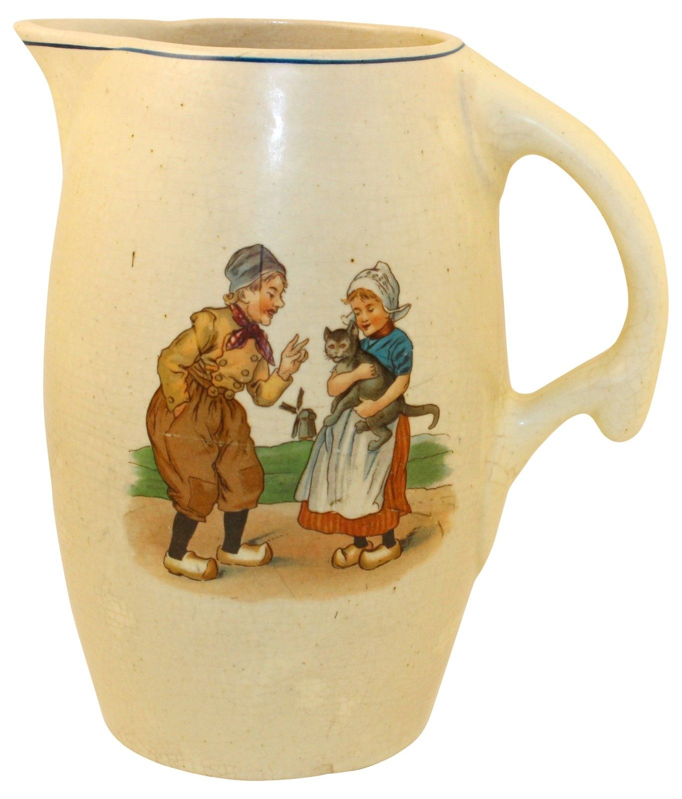 Roseville Pottery Holland Creamware Boy, Girl and Cat Pitcher