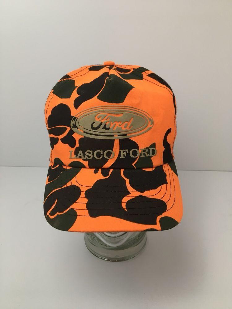 5f52b59e0e0 Vintage Lasco Ford Blaze Orange Camo Hat Cap Snapback USA Made Michigan   Blaze  BaseballCap