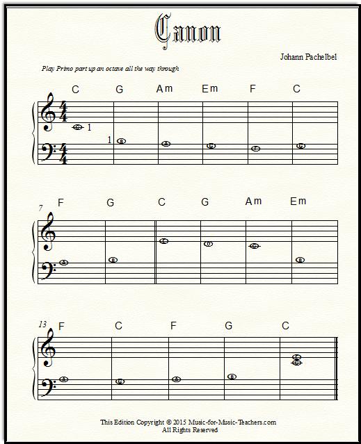 Pachelbel Canon Easy Piano Sheet Music