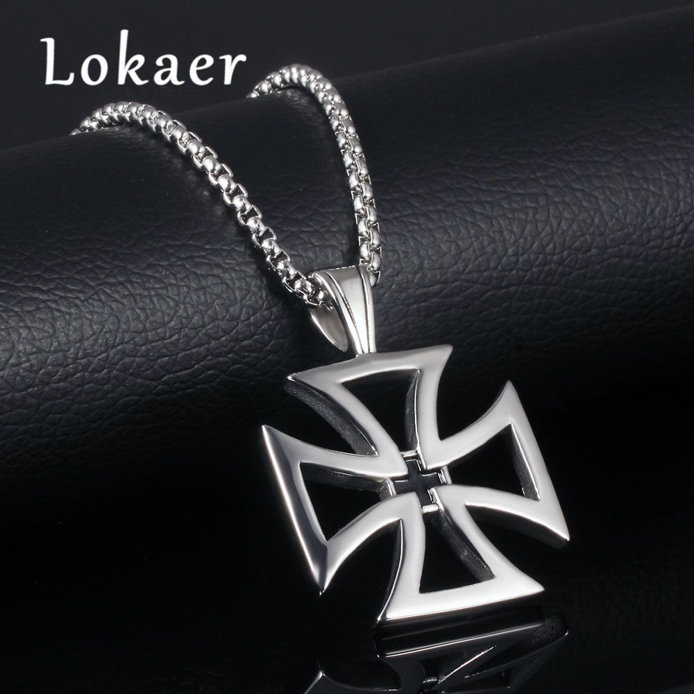 Lokaer Trendy Hollow Out Cross Men Pendant Necklaces 316L Stainless Steel Religious Jesus Men Jewelry Pendant Link Chain #Affiliate