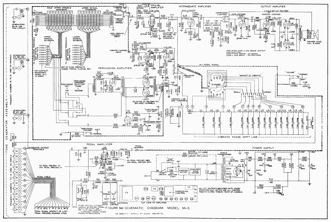 schematic for a hammond m3 organ | schematics | pinterest, Schematic