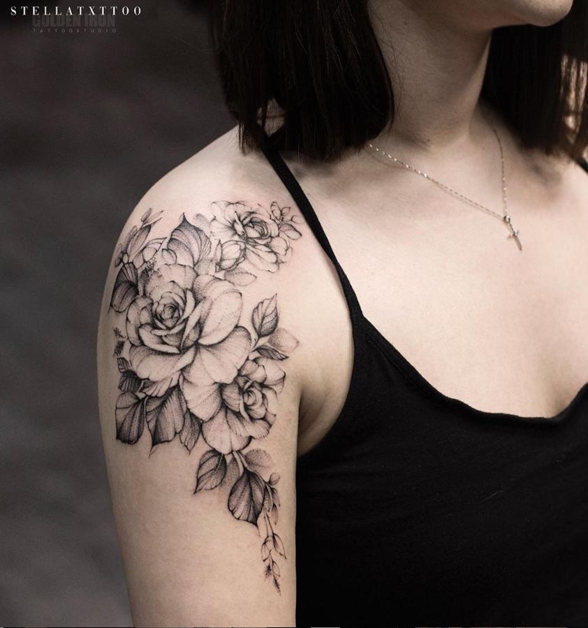26 Awesome Floral Shoulder Tattoo Design Ideas For Woman Floral Tattoo Shoulder Flower Tattoo Shoulder Rose Shoulder Tattoo