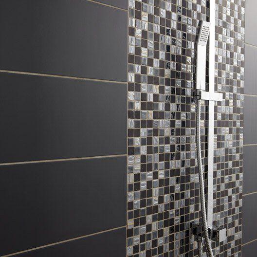 Mosaïque mur Prestige noir, gris et taupe Salle de bain Pinterest