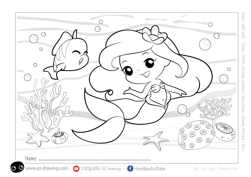 Princess Ariel เจ าหญ งแอเร ยล Disney Princess แจกภาพระบายส Freecoloring ภาพวาดเจ าหญ งด สน ย ภาพวาดด สน ย เง อก
