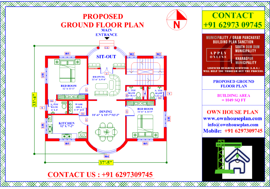 House Plan 38 X 34 2 Bed Room Own House Plan In 2021 House Plans How To Plan Ground Floor Plan