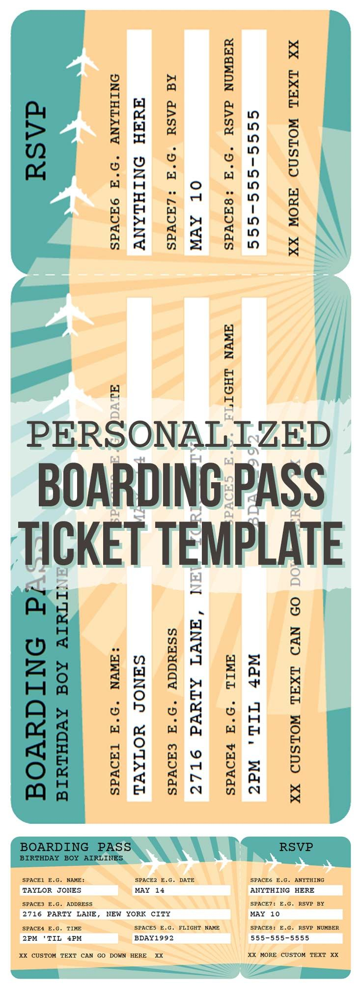 Printable Airline Boarding Pass Template Travel Theme Classroom
