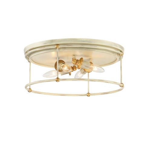Westchester County Farm House White Four-Light Flush Mount - Canopy Dimension: 0.75 In. H x 16.5 In. W - Dimmable Minka-Lavery - 1040-701 | Minka-Lavery 1040-701 Westchester County Four-Light Flush Mount in Farm House White, Transitional | Bellacor