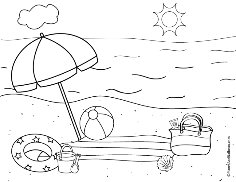 Free printable beach coloring page and a fun activity ...