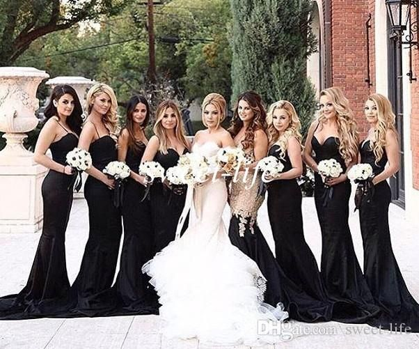 Black Mermaid Bridesmaid Dresses 2016 Sexy Spaghetti Satin