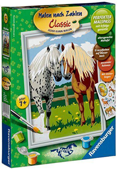 Ravensburger 28180 Gluckliche Pferde Malen Nach Zahlen 24 X 18 Cm Malen Nach Zahlen Pferde Malen Pferde