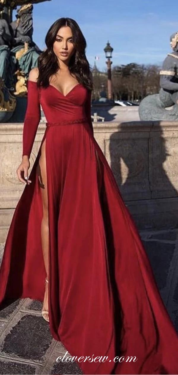 Dark Red Off The Shoulder Long Sleeves High Side Slit Prom Dresses , CP0032