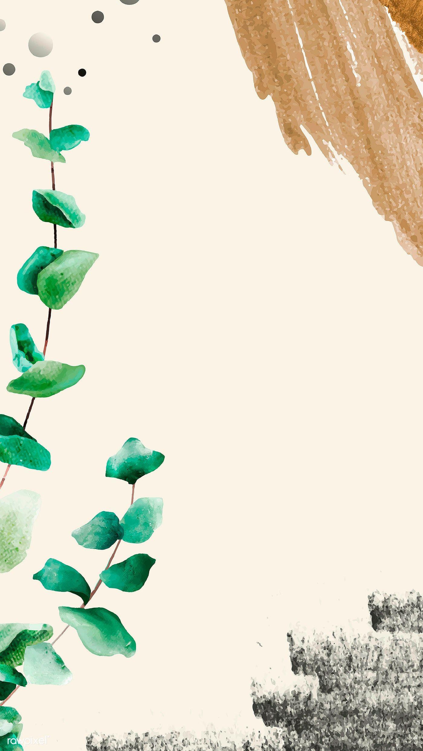 Download premium image of Eucalyptus leaf pattern on beige