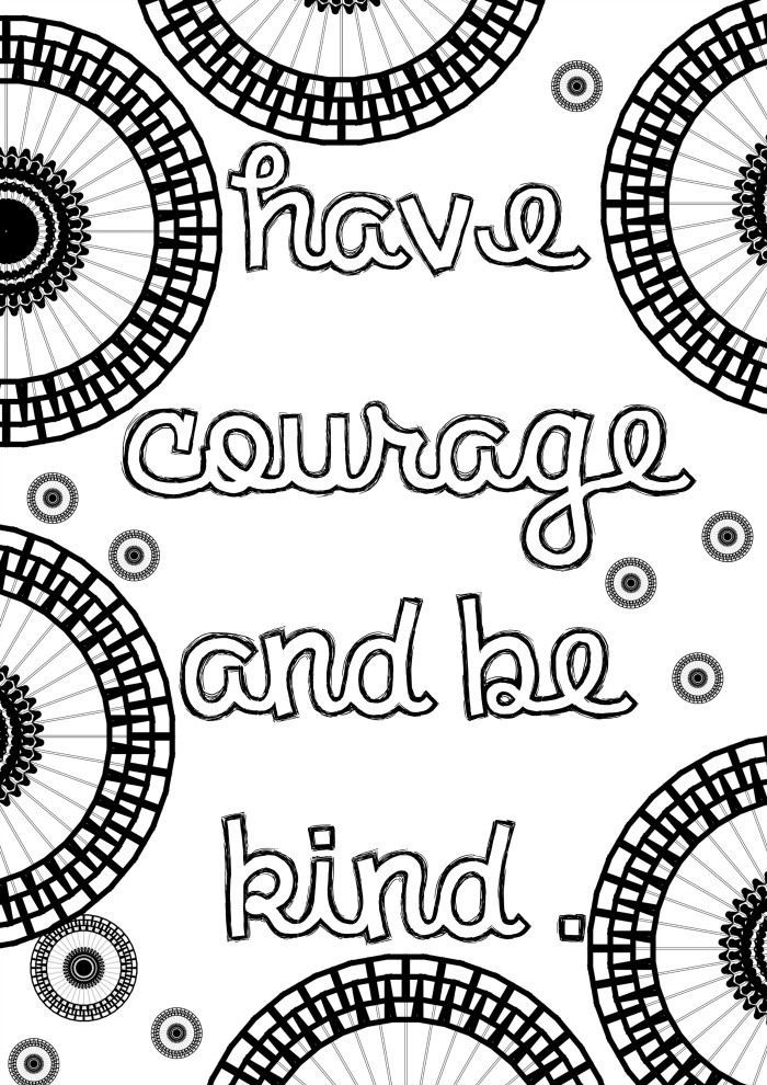 positive quote grown up coloring page inspired by cinderella with circle mandala patterns to colour - Grown Up Coloring