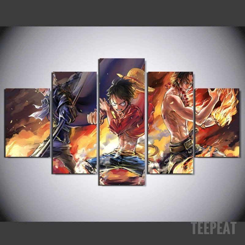 D Exhibition One Piece : Monkey d luffy painting 5 piece canvas in 2019 wall design