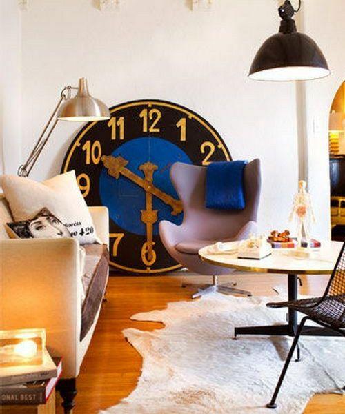 ideen für wandgestaltung wanduhr groß xxl wohnzimmer modern