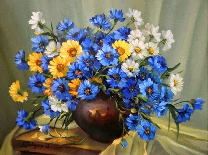 Margaritas azules y amarillas