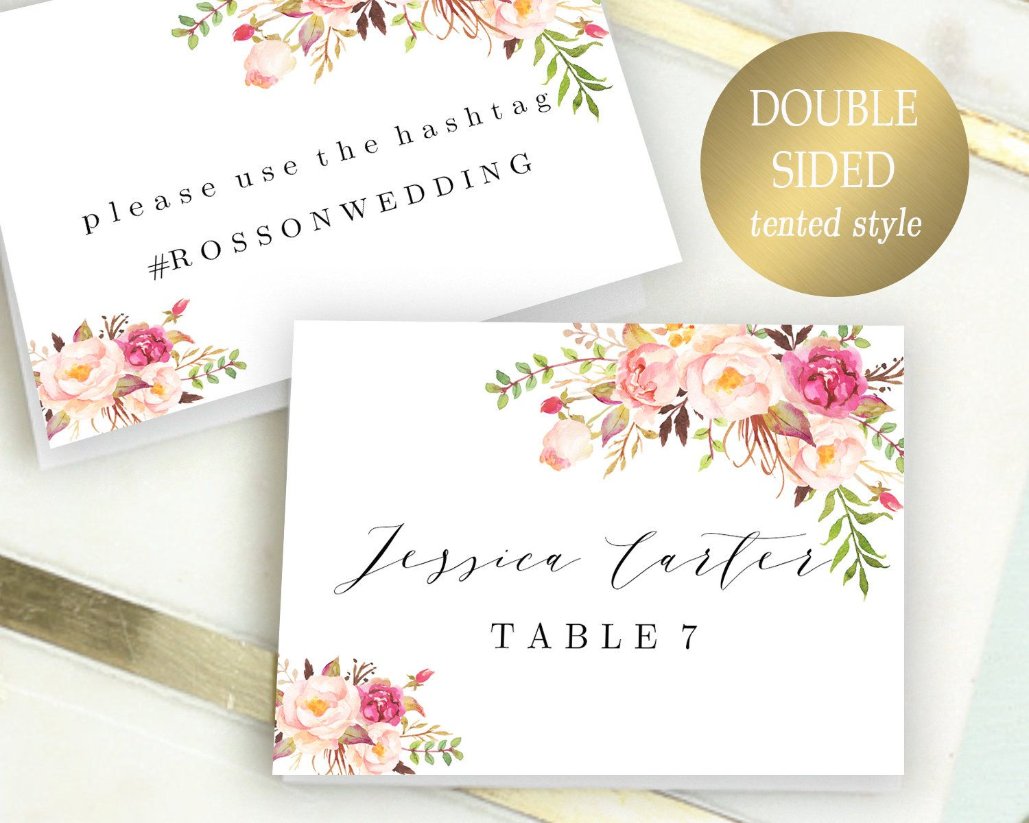 Double Sided Place Cards Printable Place Card Template Editable Reserved Seating Cards Folded Name Cards Floral Place Cards Tent Cards Pdf Place Card Template Table Name Cards Table Numbers Wedding Diy