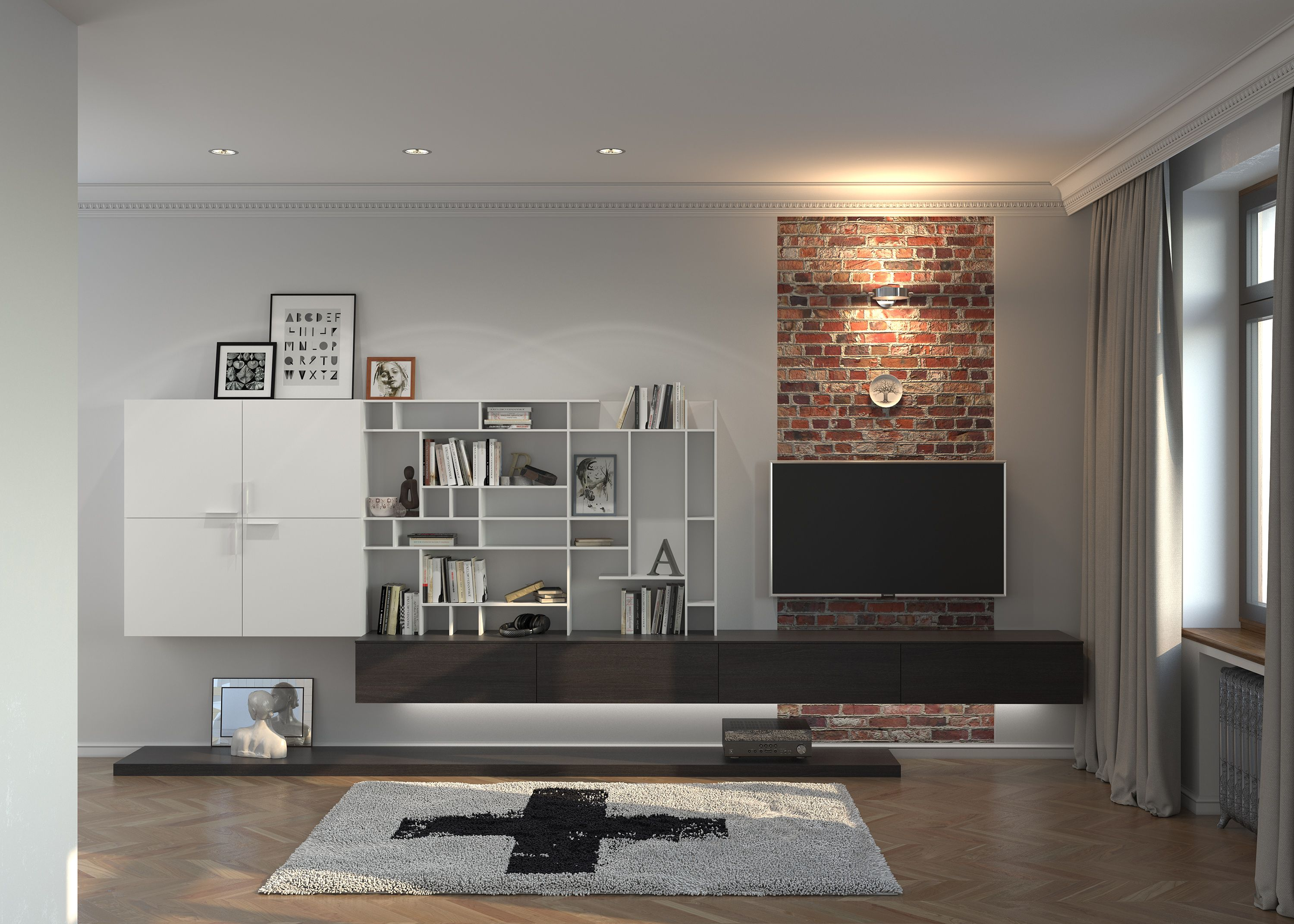 contemporary media room decorating arrangement idea. Contrasting Wall-mounted TV \u0026 Media Storage Unit | Living Rooms Paolo Marchetti Interiors Contemporary Room Decorating Arrangement Idea