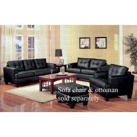 2 PCs Black Classic Leather Sofa and Loveseat Set