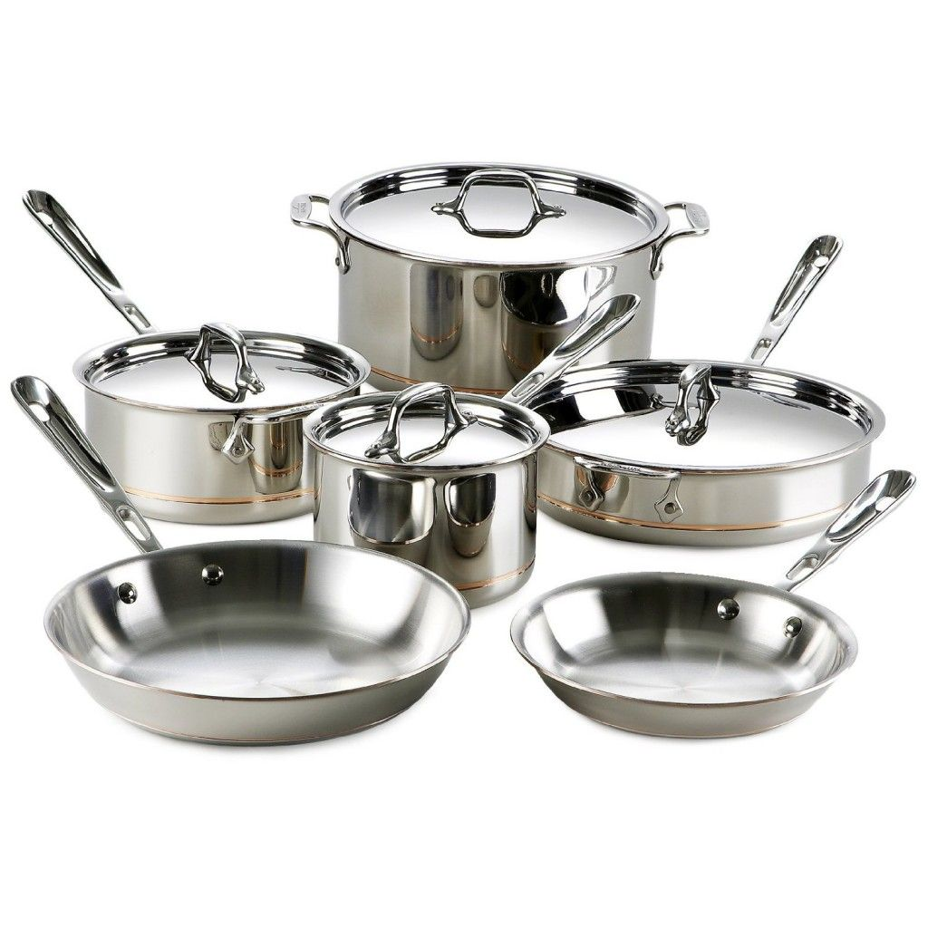 Amazing All Clad Copper Core 10 Piece Cookware Set