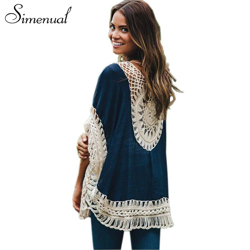 Buy Big size bohemian handmade crochet lace women blouses shirts ...