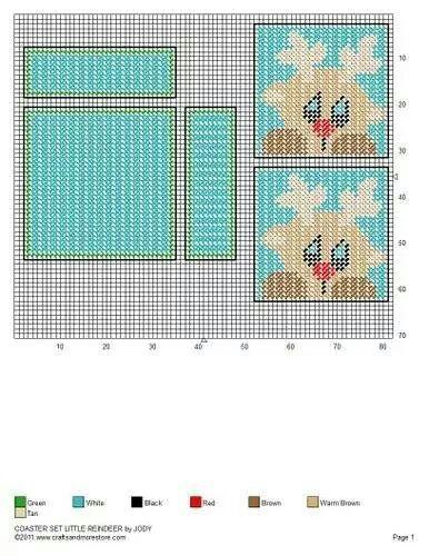 Plastic Canvas Christmas Coaster Patterns.Coaster Set Little Reindeer By Jody Plastic Canvas