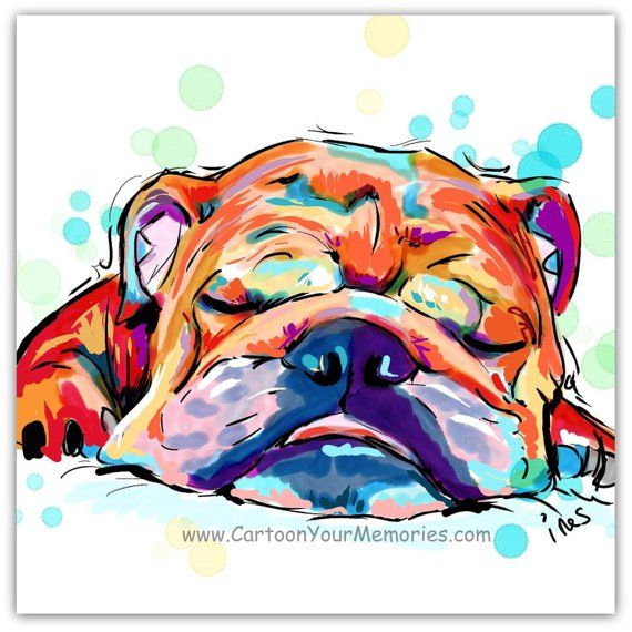 Sleeping Bulldog Etsy Bulldog Art Print Bulldog Art Dog Paintings