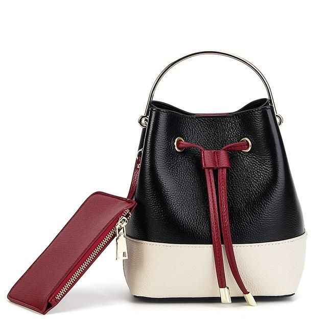 Women Leather layer Close Bucket Bag Shoulder Crossbody Bag Small – EBUYSTORE