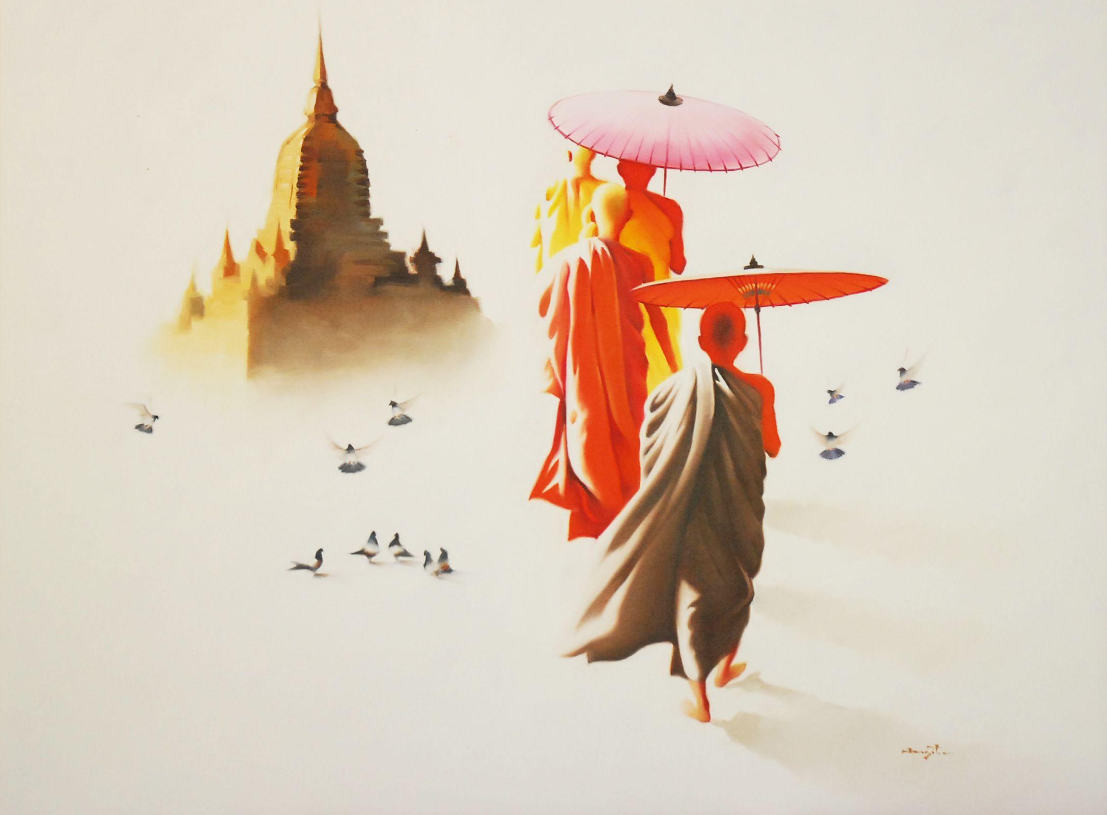 Mönche Mit Chedi Modernes Kunstbild Inspirativ   Asiatisch