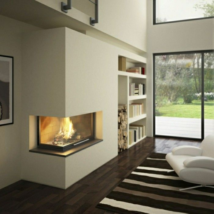 kamin weiss braun bücher regale einbauen Wohnzimmer Pinterest - Wohnzimmer In Weis Und Braun