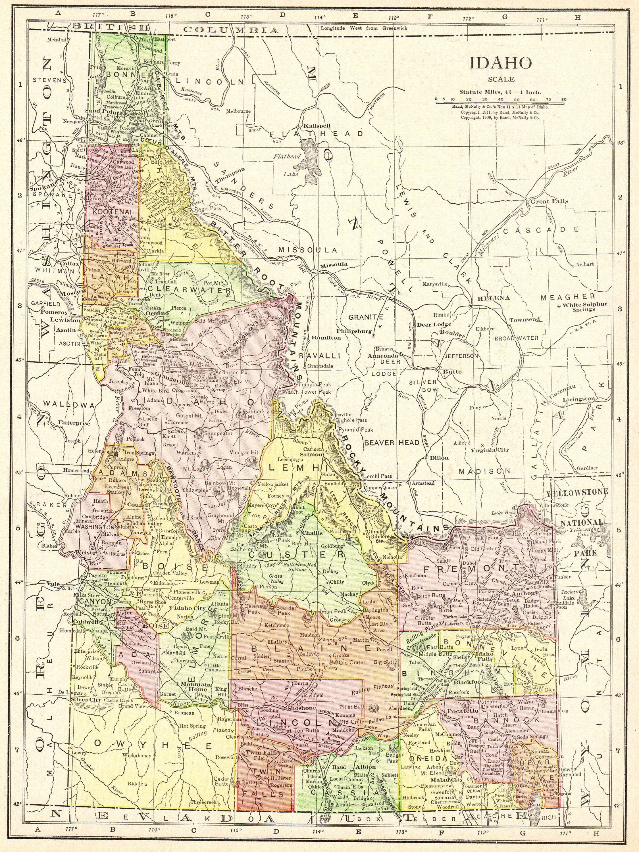 1914 Antique IDAHO Map of Idaho Print Gallery Wall Art Home Decor ...