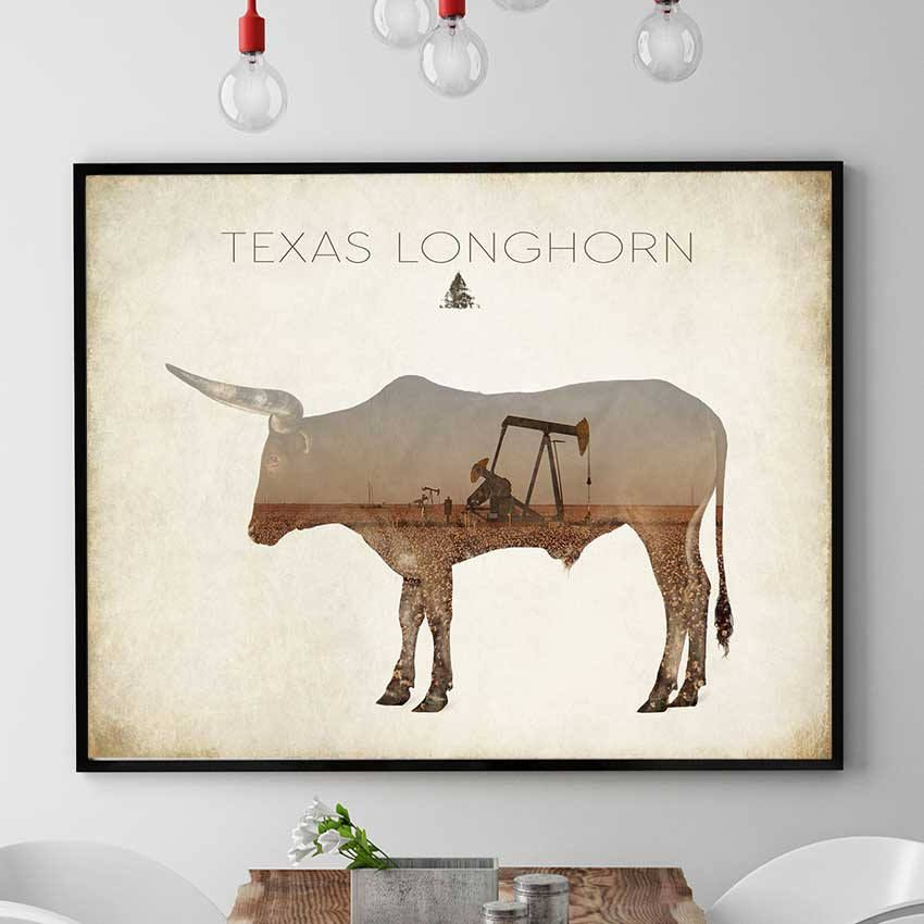 Texas Longhorn Print Painting Wall Art Poster Bull Spirit Home Decor N420