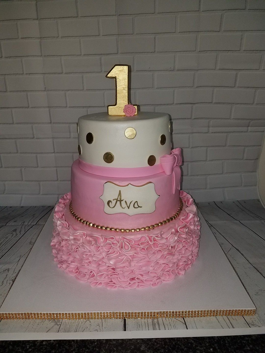 Pink white and Metallic Gold ruffles first birthday cake Polka