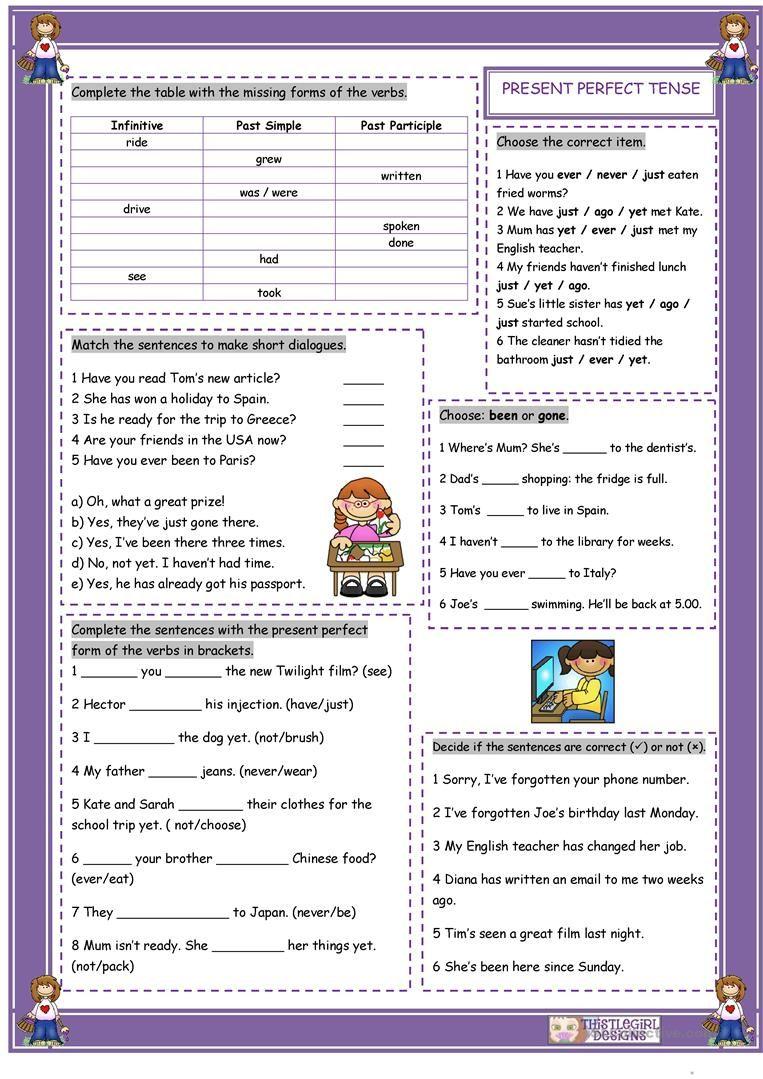 The Present Perfect Tense worksheet - Free ESL printable worksheets