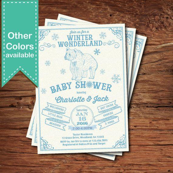 Winter Wonderland Baby Shower Invitaion. Polar Bear By