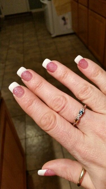 Pink sparkle french tips