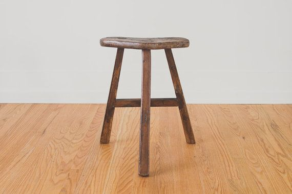 Vintage Japanese Dark Pine Stool on Etsy, $195.00