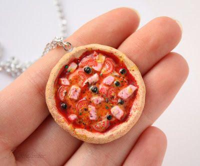 Naszyjnik pizza/ Polymer clay pizza necklace #polymerclay #pizza #necklace
